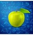 healthy lifestyle background with green apple vector image