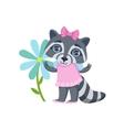 Girl Raccoon With Giant Flower vector image