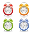 alarm clock icon set in red vector image