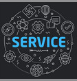 black line flat circle service vector image