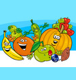 cartoon vegetable and fruit characters vector image