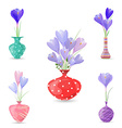 cute collection of spring flowers in vases for vector image