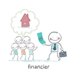 Financier gives money to people to build a house vector image
