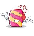 listening music marshmallow character cartoon vector image