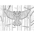 Owl in the forest coloring book for adults vector image