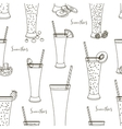 Pattern with smoothies with different Ingredients vector image