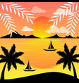 sunset lanscape with the beach in summer vector image