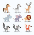 set animal caricature of wildlife in white vector image