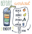 Before workout hand drawn smoothie recipe vector image