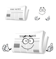 Cartoon newspaper with attention gesture vector image