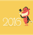 New year card with elegance monkey in gentlemans vector image