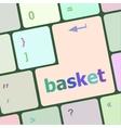 basket word on keyboard key notebook computer vector image