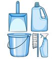 Cleaning set in blue color vector image