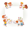 different children draw on large poster vector image