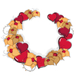 Hand drawn hearts and flowers vector image