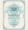vertical gin label with floral frame vector image