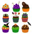 halloween cupcakes flat icons halloween vector image