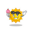 with ice cream cute sun character cartoon vector image
