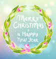 Christmas and New year wreath with a bird greeting vector image