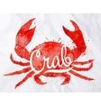 Watercolor crab vector image vector image