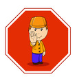 cartoon warning sign stop with man in orange vector image vector image