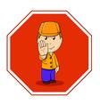 cartoon warning sign stop with man in orange vector image vector image