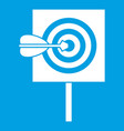 arrow in the center of target icon white vector image