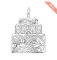 big cake with candle with floral doodle ornament vector image