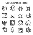 car insurance icon set in thin line style vector image