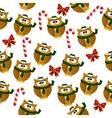 christmas owl in santa hat vector image
