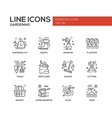 Gardening - line design icons set vector image