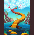 golden stair with key vector image