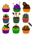 halloween cupcakes flat icons halloween vector image