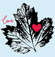 prints black leaf on a blue background love vector image