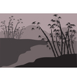 Silhouette of bamboo on the riverbank vector image