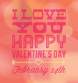 Valentines Day I Love You Card with Date vector image