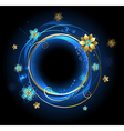 round banner with gold flowers vector image