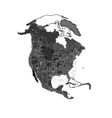 North America at night as engraving vector image
