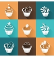 Flat icons cupcakes with long shadow vector image