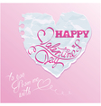 paper heart pink background 380 vector image