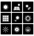 black solar energy icon set vector image