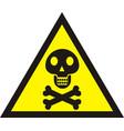danger sign with skull symbol deadly danger sign vector image