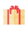 gift box wrapped in paper with abstract trees icon vector image