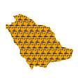 saudi arabia map isolated oil pump texture vector image