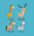 set animal caricature of wildlife in color vector image