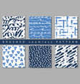 set of colorful seamless pattern with brush vector image