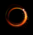 round fiery banner vector image