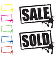 sale and sold signs vector image vector image
