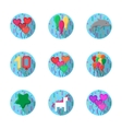 Colorful balloons flat icons collection vector image