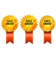 gold awards medals and ribbons vector image